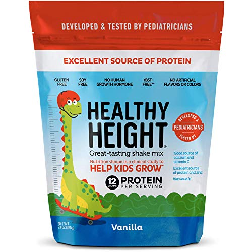 Healthy Height Kids Protein Shake Mix (Vanilla). Great Tasting and Doctor Developed Nutritional Drink that Helps Kids Grow with 12 g Protein, Vitamin C and Zinc. Gluten-Free and Soy-Free. (21.7 oz)