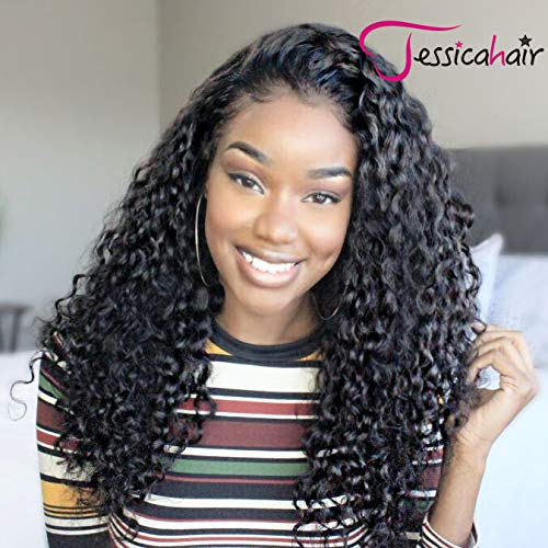 13x6 Lace Front Human Hair Wigs Wet Wavy 150% Density For Women Natural Black Brazilian Remy Hair Curly Glueless Top Lace Wigs Pre Plucked With Baby Hair (16 inch with ()