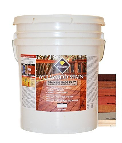 Clear Wet Wood Stain For Exceptional UV Protection. Deep Penetrating Tung/Linseed Oil Resists Cracking, Same Day Wash/Apply, Fast Dry 4 hr Recoat, Nano Technology, Resists Mold/Mildew for Decks, Fences, Siding, Log Homes - 5 Gal