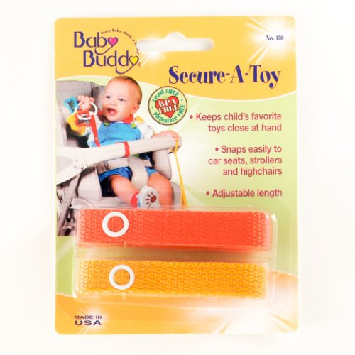 Baby Buddy Secure-A-Toy 2 Count Toy Straps, Orange-Gold