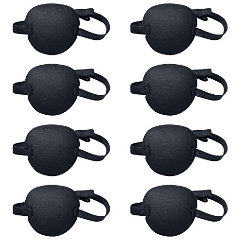 Favourde 8 Pack Black Eye Patch Strabismus Adjustable Eye Patch Eye Mask with Buckle for Adults and Kids