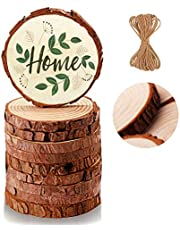 Natural Wood Slices Unfinished Predrilled with Hole Round Discs Wooden Circles for Christmas Ornaments DIY Crafts Decor