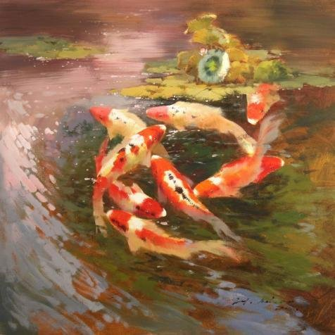[The High Quality Polyster Canvas Of Oil Painting 'Carps In The Lotus Pond' ,size: 10x10 Inch / 25x25 Cm ,this Replica Art DecorativePrints On Canvas Is Fit For Laundry Room Decoration And Home Gallery Art And] (Costumes Gallery In Stock)