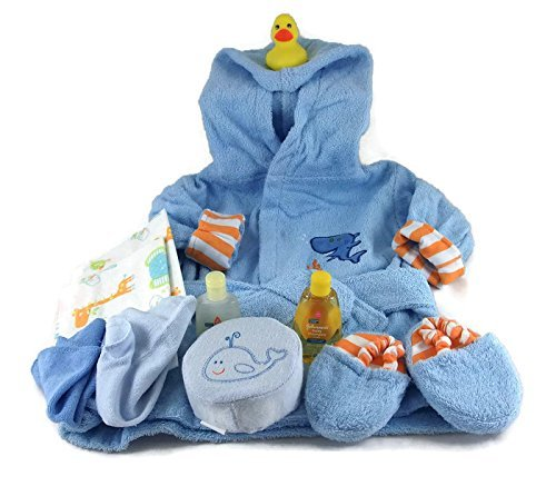 Sunshine Gift Baskets - Sea Characters 10 Piece Bath Time Gift Set - Blue