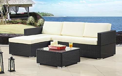 Madison Home Modern Outdoor Garden Sectional Wicker Sofa Set with Coffee Table Beige (Cocktail Sectional)