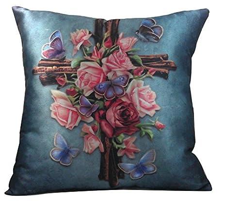 Amazon.com: 14.5 inch diseño de mariposas y rosas Cruz ...