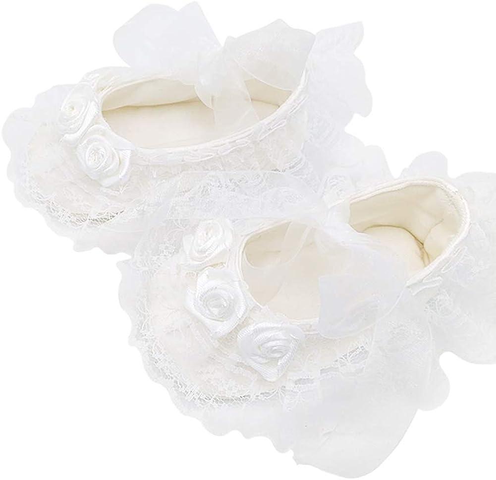 Baby Girl Infant White Rose crystal Ballet First Soft dressChristening shoes