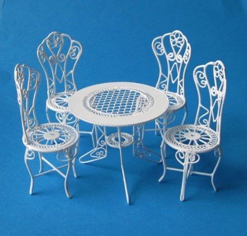 creal 330071 Mesa mobiliario de jardín y 4 sillas Metal 1:12 para casa de muñecas