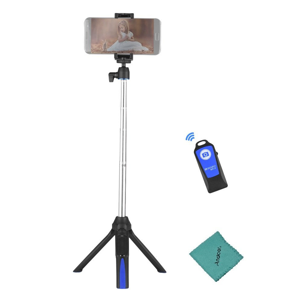 Benro MK10 Mini Tabletop Tripod Extendable 3 in 1 Selfie Stick Monopod Bluetooth Remote Phone Mount for iPhone X 8 8Plus 7 7Plus for Android Smartphone for GoPro Action Camera