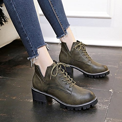 Women Female Short Boots with Boots 5 Tie brown Boots EUR36 Wipe Horse Women Boots Mother low Paddle BwBCntx
