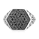 Epinki 925 Sterling Silver Punk Rock Vintage Gothic Flower Vine Hexagon Ring for Men Size 9.5