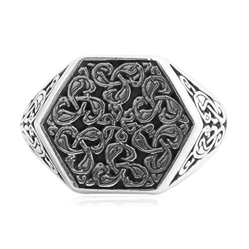 Epinki 925 Sterling Silver Punk Rock Vintage Gothic Flower Vine Hexagon Ring for Men Size 9.5 by Epinki