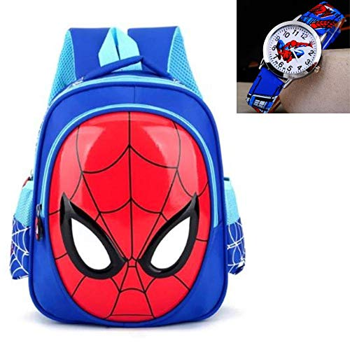 ManalCorp Spiderman Backpack with FREE SPIDERMAN WATCH INCLUDED!!!,(Blue)