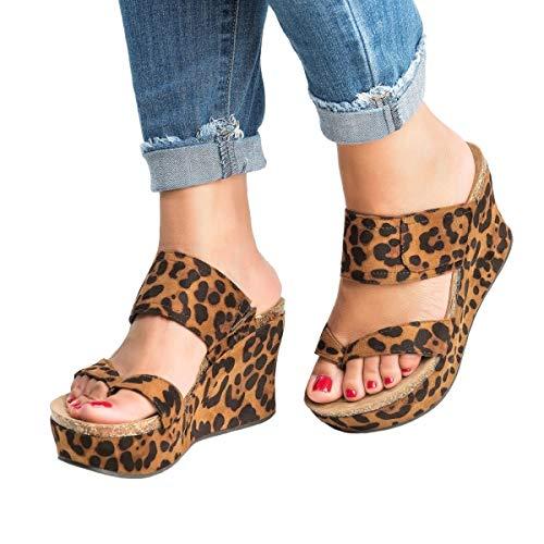 Syktkmx Womens Leopard Slip on Platform Wedge Slides Thong Flip Flops Sandals with Heels
