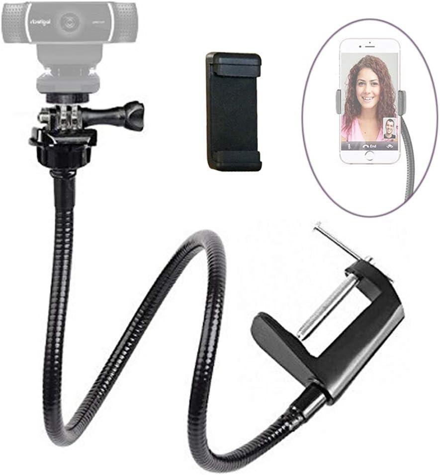 "Etubby Webcam Stand Phone Holder 26"" Adjustable Gooseneck Desktop Camera Desk Clamp Mount for All Cellphones, Gopro and Logitech Webcam C925e,C922,C930e,C930,C920,C615, Etc. (1/4"" Threaded)"