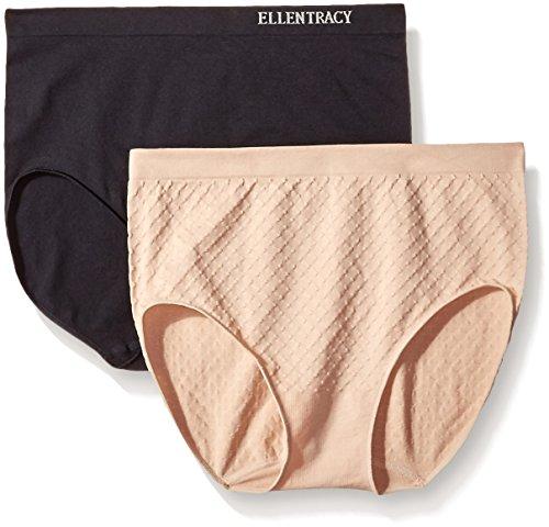 Ellen Tracy Women's Dot Jacquard Full Brief Panty, Black/Sun Beige, Medium (2 Pack)