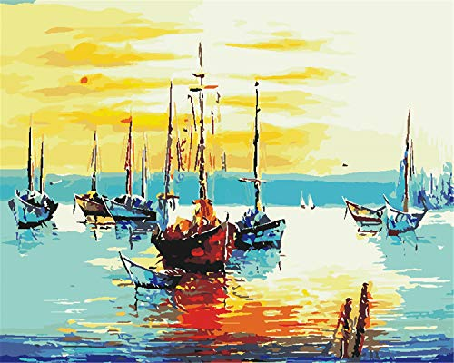 EOBROMD 3D Oil Painting, Hand Abstract Original Painting on Canvas Modern Artwork with Brushes Acrylic Pigments for Home Decoration - Sailing Boat 16x20inch -