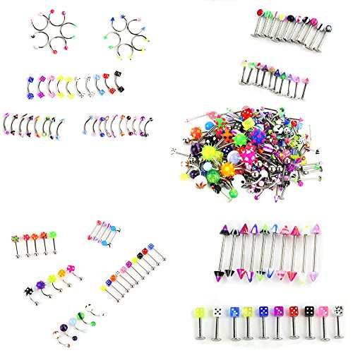 KingFurt 110 PCS Body Jewelry Piercing Eyebrow Navel Belly Tongue Lip Bar Ring 22 Styles
