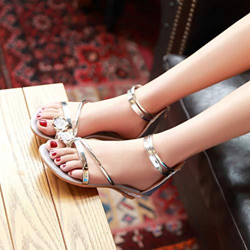 Pour Femmes Cuir Argent Rouge Cher Pas Compensées Ete D'été Ohq Plates sandales Dorees Talon Élastique Garçon Marche Randonnee De anw8UU51qR