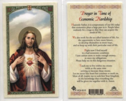 (Sacred Heart - Prayer in Time of Economic Hardship Holy Card (HC9-351E) - Pack of 10 - Laminated)