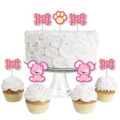 (Girl Puppy Dog - Dessert Cupcake Toppers - Baby Shower or Birthday Party Clear Treat Picks - Set of 24)
