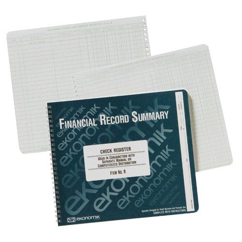 Ekonomik R Wirebound Form R Check Register W/O Distribution/Itemization Columns, 8-3/4X10