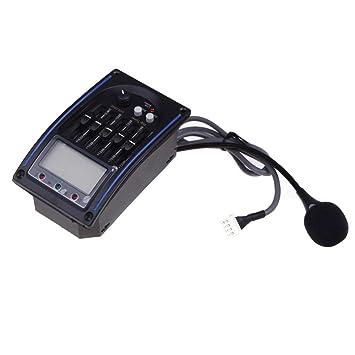 SODIAL(R)5 - Bandas de ecualizador de pastillas de la guitarra acustica Fonocaptor Piezo Pickup LCD Mic: Amazon.es: Instrumentos musicales