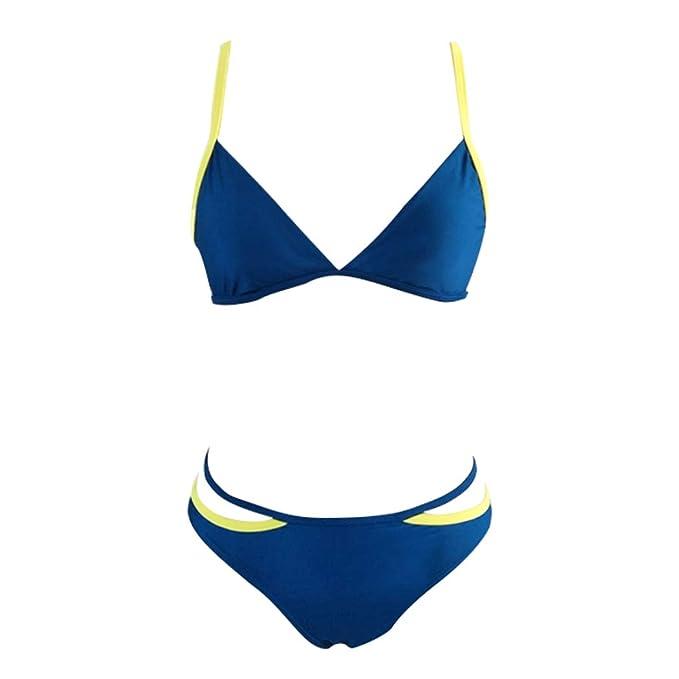bc0f9ce9a1fa Bikini de Encaje de Mujer, Sistema de Color sólido Halter Sexy de ...