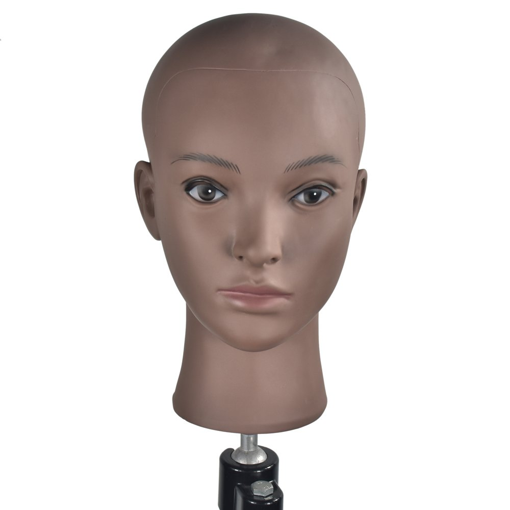 Female Professional Cosmetology Bald Mannequin Head for Making wigs, Displaying Wigs,Glasses,Hair with Free Clamp MIAOMANZI