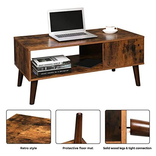 Living Room VASAGLE Retro Coffee Table, Cocktail Table, Mid-Century Modern Accent Table with Storage Shelf for Living Room… modern coffee tables
