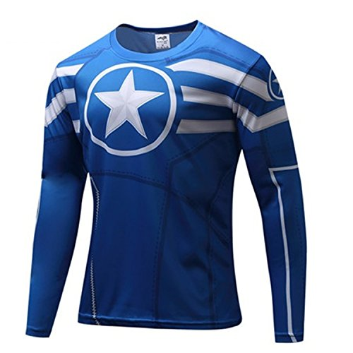Captain America Avengers Costume Bad (AmonKui Spiderman Ironman Captain America Avengers Costume Superhero Soldier Marvel Comics Mens Style Long T Shirt Picture Color XL)