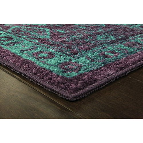 Area Rugs, Maples Rugs [Made in USA][Georgina] 7' x 10' Non Slip Padded Large Rug for Living Room, Bedroom, and Dining Room - Wineberry/Teal by Maples Rugs (Image #2)