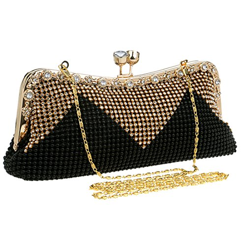 EROUGE Rhinestone Evening Purse Beaded Geometric Design Large Clutch Bag (Black) -