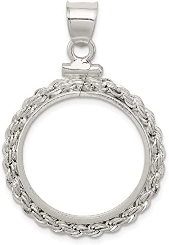 Sterling Silver Sterling Silver 21.1 x 2mm $0.05 Rope Coin Bezel Pendant