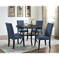 Roundhill Furniture D162BU Biony Dining Collection Espresso Wood Set with Blue Fabric Nailhead Chairs