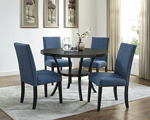 Roundhill Furniture D162BU Biony Dining Collection Espresso Wood Set Fabric Nailhead Chairs, Blue