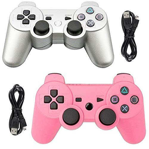 Tidoom PS3 Controller 2 Pack Wireless Bluetooth 6-Axis Gamepad Controllers Compatible for Playstation 3 Dualshock 3 Pink + Silver (Wireless Ps3 Controller Pink)