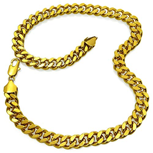 - Fashion kimi2 N346a-18ct Gold Filled Cuban Link Chain Necklace for Men 11mm Width (27.55)