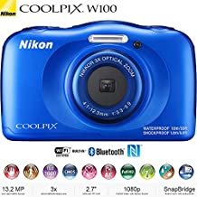 Nikon COOLPIX W100 13.2MP 1080P Digital Camera w/3x Zoom Lens, WiFi, SnapBridge - (Certified Refurbished)