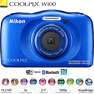 Nikon COOLPIX W100 13.2MP Waterproof Digital Camera 3X Zoom, WiFi (Blue) 26516B - (Certified Refurbished)