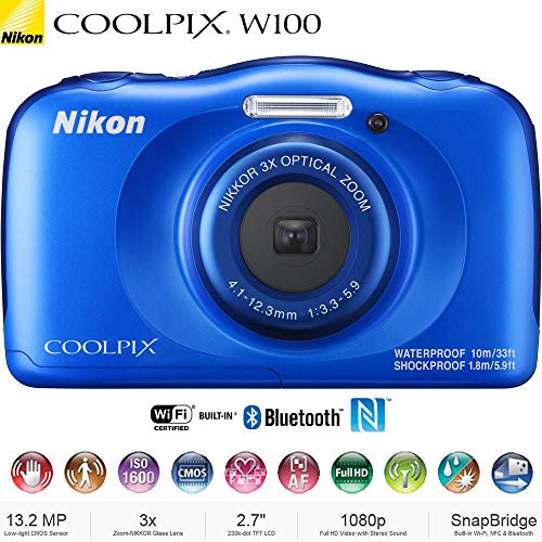 Nikon COOLPIX W100 13.2MP Waterproof Digital Camera 3X Zoom, WiFi (Blue) 26516B – (Certified Refurbished)