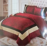 Gloria 4 Piece Double Bed Wedding Bedding Set(1 Double Bedsheet, 2 Pillow Covers and 1 Quilt)- Maroon