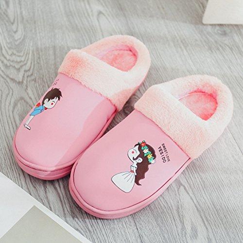 Coppie fankou home cotone pantofole indoor anti-slittamento dello spessore di soggiorno incantevole caldo pantofole uomini e donne inverno ,37-38, cocomero rosso.