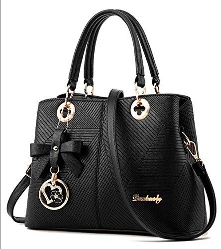 DRWJ Mode Damen Tasche Einfache Prägung 0L Schulter Messenger Bag Weiblich (Schwarz)
