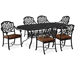 Home Styles Floral Blossom 7 Piece Dining Set in Charcoal