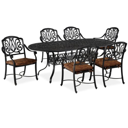 Home Styles Floral Blossom 7-Piece Dining Table, Charcoal