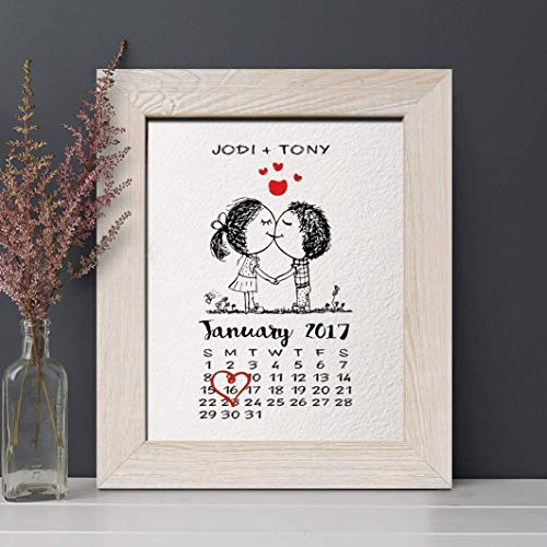 - 1st Paper Anniversary Gift for Him or Her, Wedding Date Calendar Print, Gifts for Husband and Wife