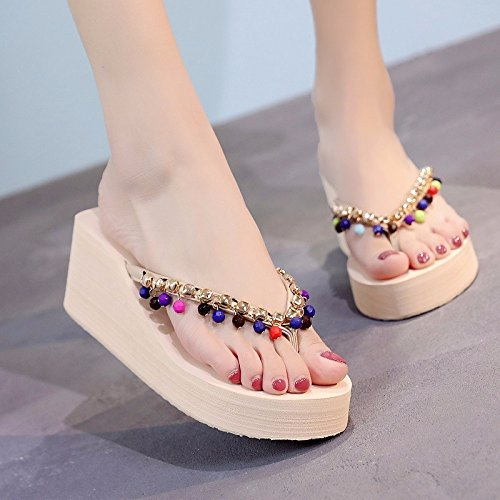 beach slippers casual LIUXINDA shoes thick slippery slippers XZ fashionable wear bottom tide Beige Summer Hand 88aHSnFAq