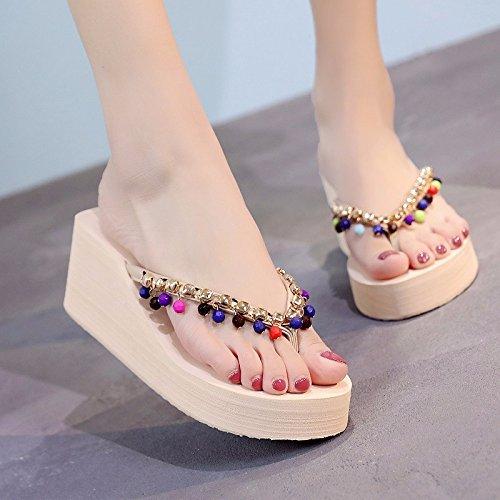 inferior beige zapatillas de moda de antideslizantes playa zapatos XIAOGEGE estilo mano de gruesa Xiaogee casual parte Zapatillas 1B6WqXRWaH