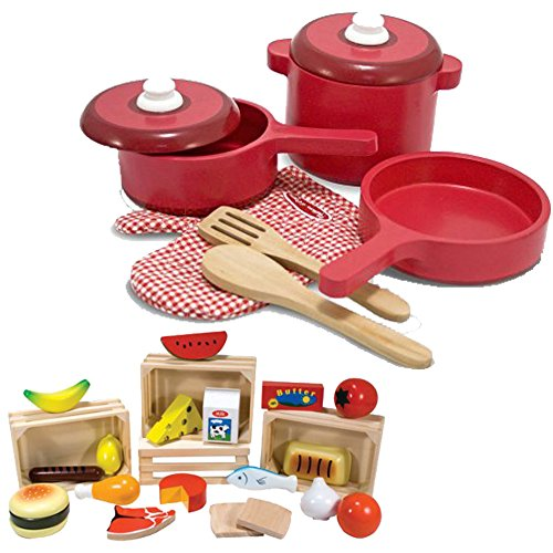 Melissa & Doug 8 Piece Deluxe Pretend Play Wooden Cooking Kitchen Pots & Pans Toy Set for Kids with 4 Crates Wooden Food Groups (11 Piece Deluxe Block)